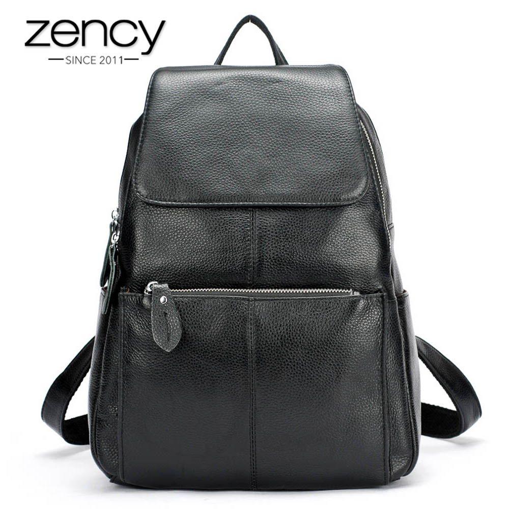 Zency Fashion Color 100% Genuine Leather Casual Women's Backpacks Casual Travel Knapsack Laptop Bag Ladies Pocket Girl Schoolbag