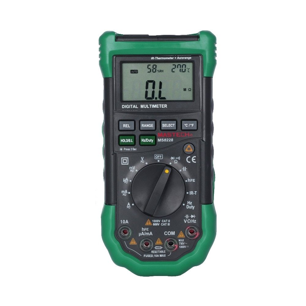 MASTECH MS8228 Automatic range 4000 Counts Digital Multimeter Non-Contact IR Thermometer Relative Humidity Tester