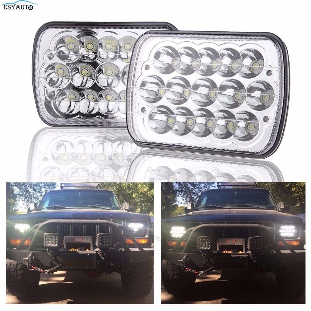 7x6 Led Headlights Rectangle Led Headlight 5x7 Led Headlights 7x6 Hi/Low Led Sealed Beam Chrome Headlamp For Jeep Chevy 6054