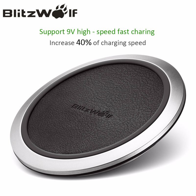 BlitzWolf Qi Wireless Charger Desktop Mobile <font><b>Phone</b></font> Charger 9V Fast Charging Pad For Samsung S8+ S7 S7 Edge Smart <font><b>Phones</b></font> Chargers
