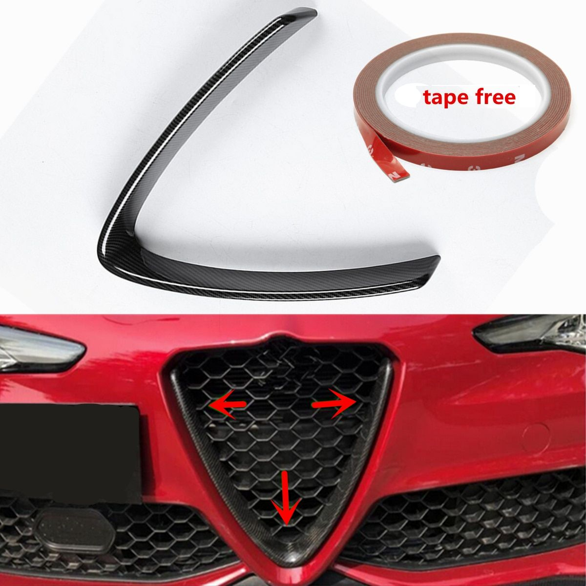 Car Carbon Fiber Front Grill Outline Trim Cover Overlay Styling for Alfa Romeo Giulia 2016 2017 2018