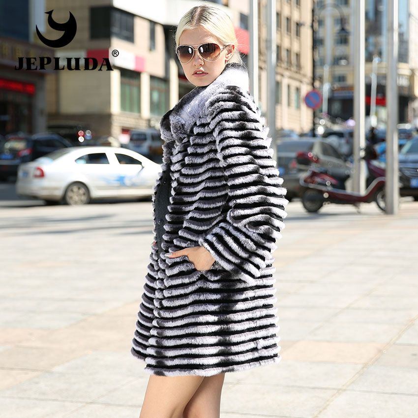 JEPLUDA Women Soft and Warm Natural Real Rex Rabbit Coat Cloth Wool Blends Comfortable Real Fur Coat Winter Fur Jacket Women