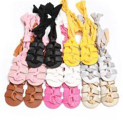 Venta caliente bebé Niñas Sandalias recién nacido bebé Niñas pu vendaje de cuero Sandalias Verano 2017 nueva moda chica cochecito plana zapatos