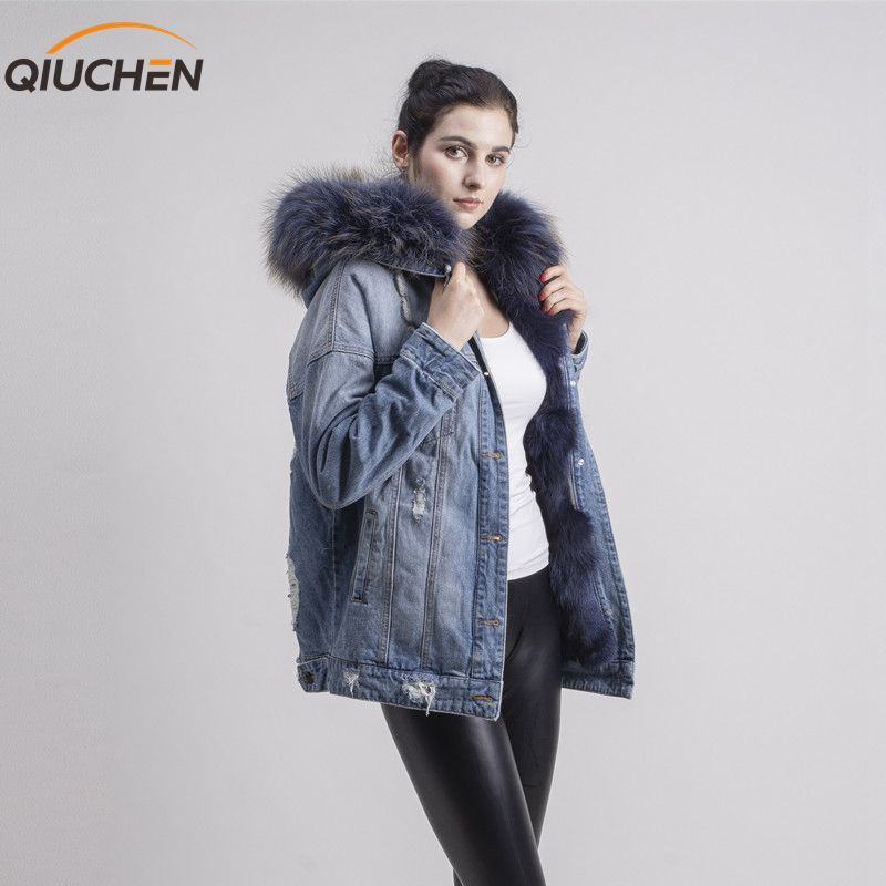 QIUCHEN PJ1816 real fox fur lined three colors denim jacket jeans coat with real raccoon fur collar for winter fur parka