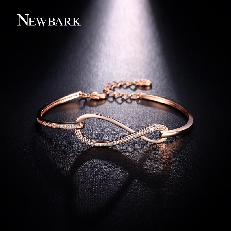 NEWBARK Micro CZ Paved Figure 8 Infinity Bracelet Rose <font><b>Gold</b></font> Color And Silver Color Lobster Clasp Eternity Jewelry