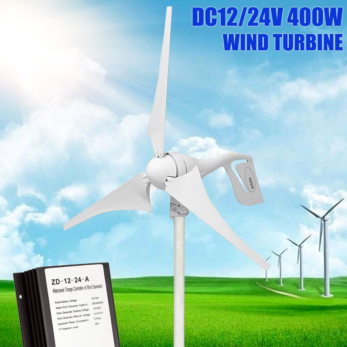 800/MINRPM 400W Wind-Turbine Generator DC 12V/24V 3 Blade with Charge Controller Waterproof White