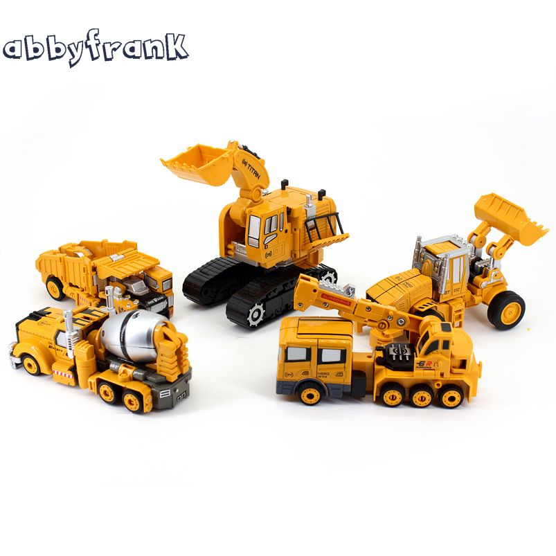 Abbyfrank D'ingénierie Transformation Voiture Jouet 2 en 1 En Métal Alliage Construction Véhicule Camion Robot D'assemblage De Voiture Enfant Jouets Garçons Cadeau