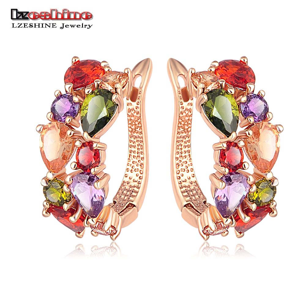 LZESHINE Venta Superior Nuevos Pendientes Flor de Oro Rosa de Color Multicolor Cubic Circón Stud Pendientes para Las Mujeres Brinco Bijoux CER0143