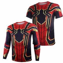 Avengers Infinity War Iron Spiderman T shirt Cosplay Peter Parker Superhero Spiderman Tee Shirts Man Tops costumes NEW Drop ship