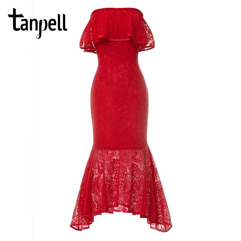 Tanpell boat neck homecoming dress elegant red tea length ruffles gown cheap newest ladies party lace mermaid graduation dresses