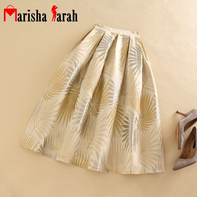Women Pleated Mid-Calf High Waist Skirts Vintage Jacquard Embroidery Flowers Casual Tutu Skater Skirt For Autumn Winter Saia