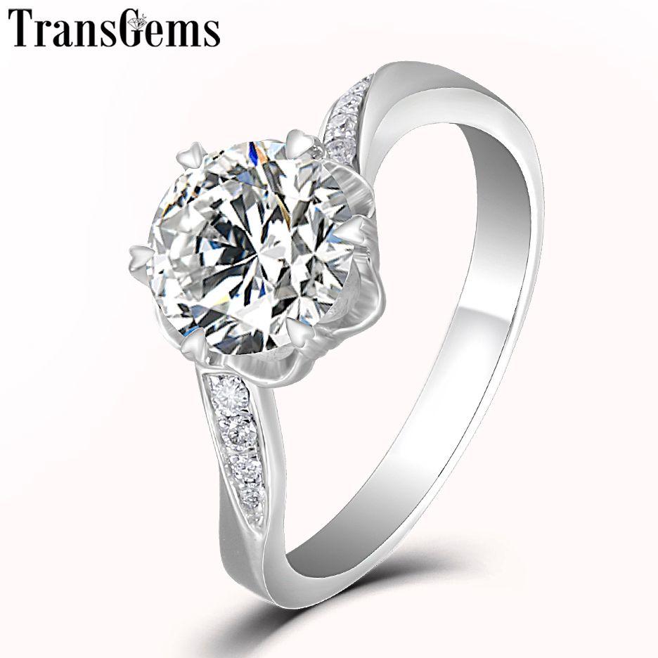 Transgems Trendy Center 2ct 8mm F Color VVS Moissanite 14K 585 White Gold Engagement Ring for Women Wedding Anniversary Gift