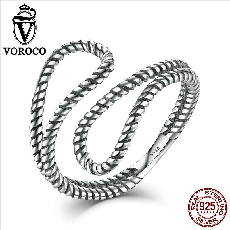 Voroco подлинные 925 стерлингов Серебряные кольца простые Стильные веревка обмотки нерегулярные регулируемый открыть манжеты кольцо Для женщи...
