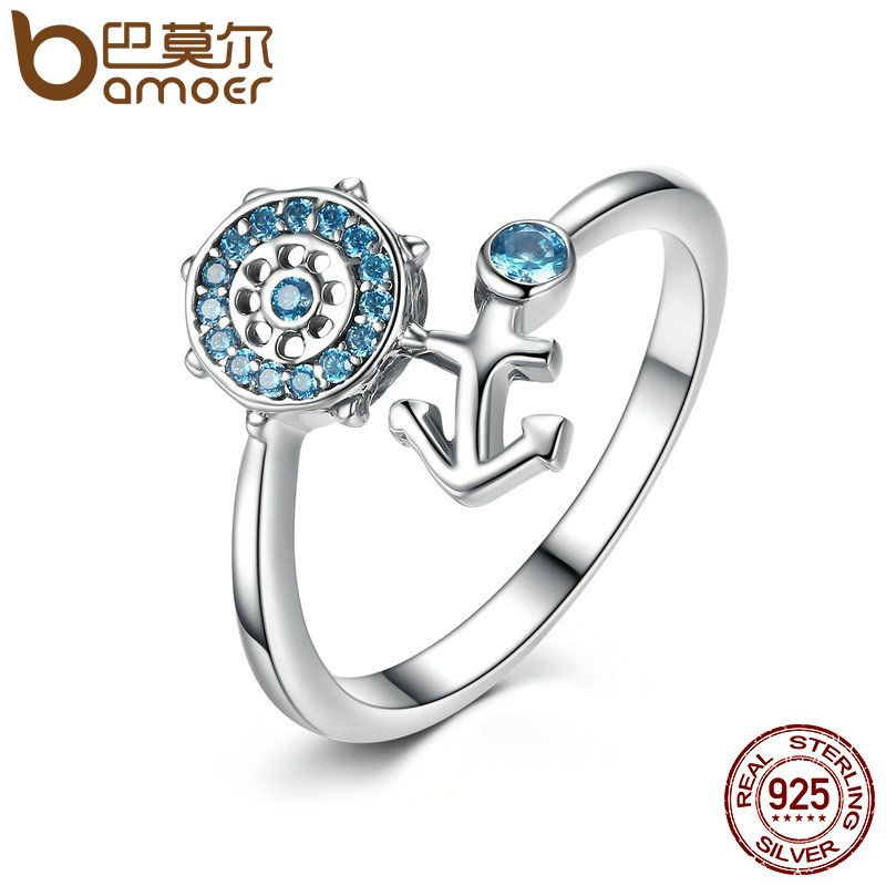 BAMOER 925 Sterling Silber Blau Kristall Anchor & Rudder Finger Ring für Frauen Mode Engagement Ring Schmuck SCR005