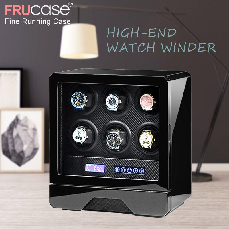 Luxus Uhr wickler automatische uhr display für 4 uhren 6 uhren control Stoppen, wenn die abdeckung geöffnet LED licht Fernbedienung control