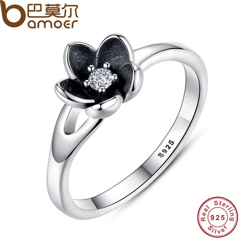 Bamoer nueva colección auténtica Mystic flor floral empilable anillo CZ y esmalte negro 925 joyería de plata esterlina PA7154