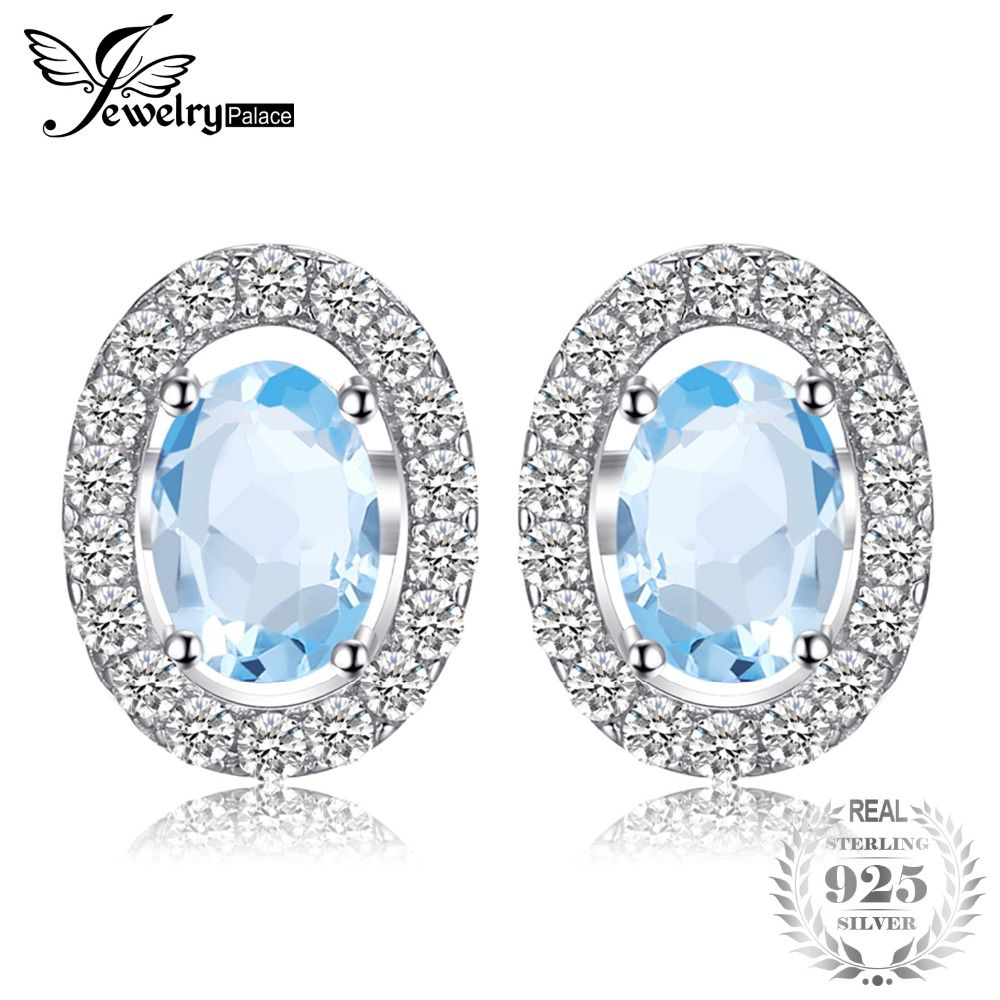JewelryPalace Oval 1.1ct Natural Blue Topaz 925 Sterling Silver Stud Earrings Natural Gemstone Fine Jewelry for Women