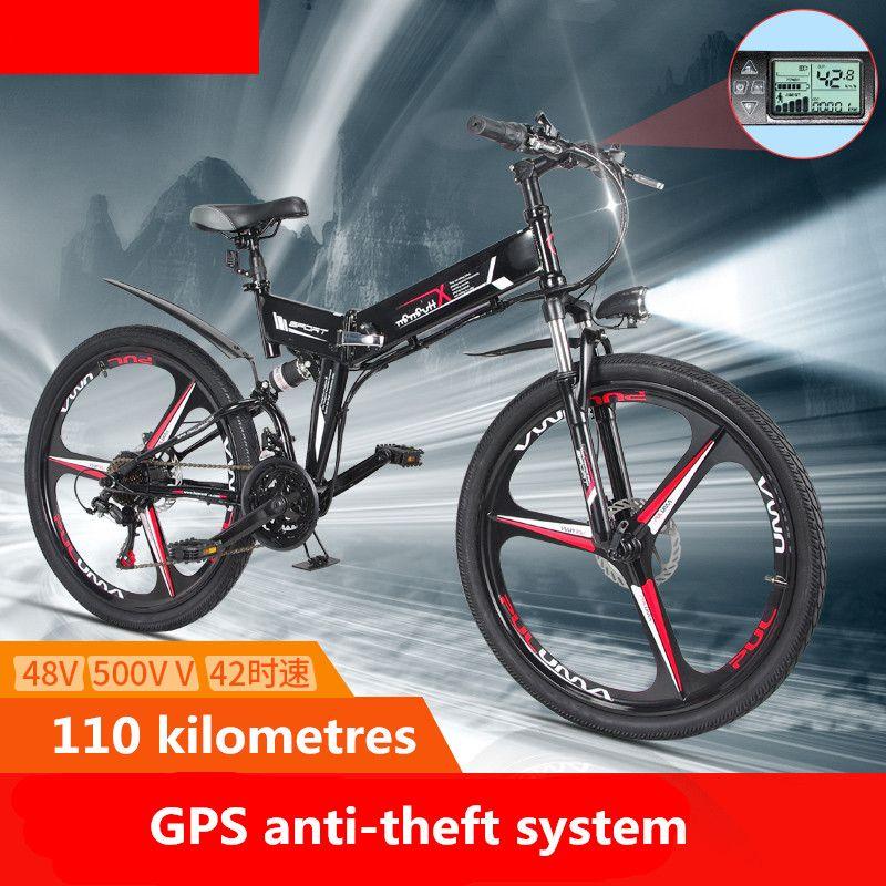 Nouveau Vélo Électrique 21 Vitesse 10AH 48 v 350 w 110 km Intégré batterie Au Lithium E vélo électrique 26