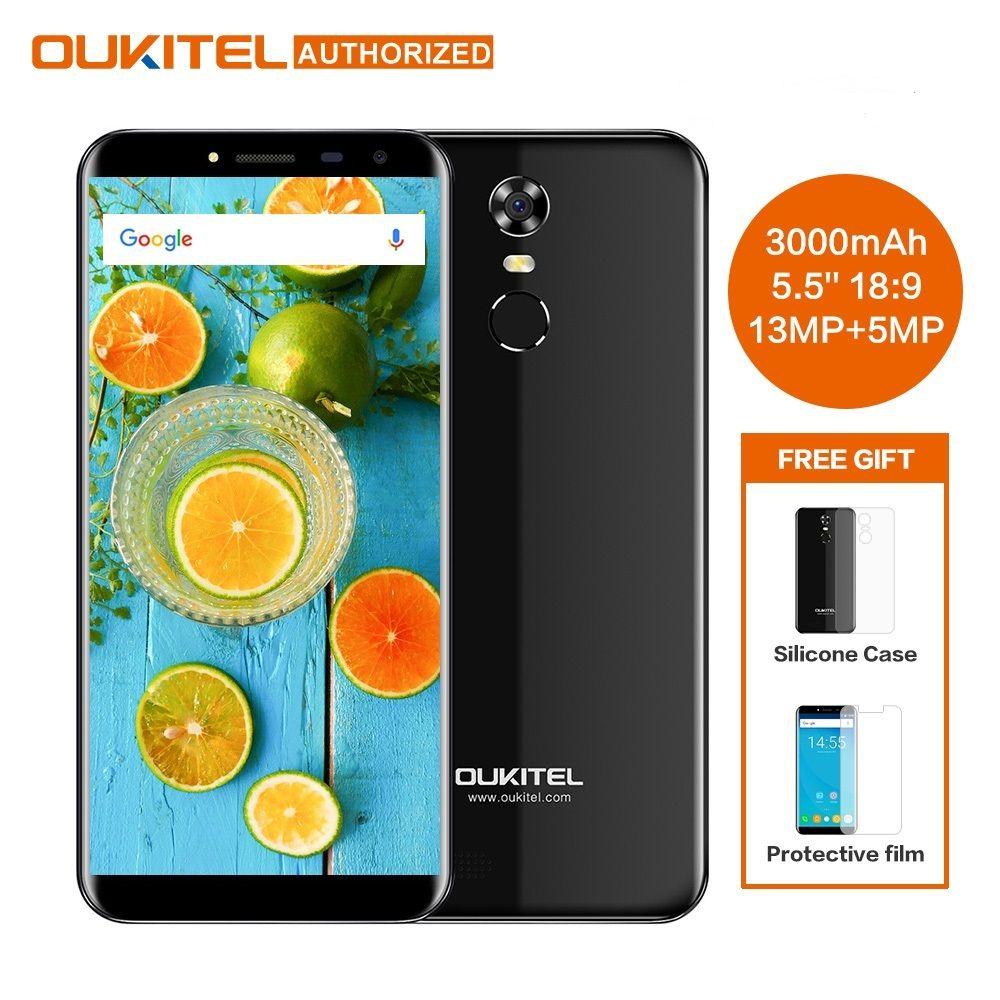 Oukitel C8 5.5 Pouces 18:9 HD Écran Mobile Téléphone MTK6580A Quad Core 2 GB RAM 16 GB ROM 13MP Android 7.0 3000 mAh Tactile ID Téléphone Portable