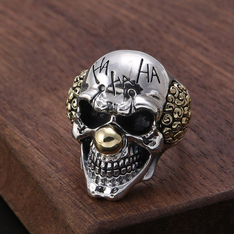 S925 pure silver restoring ancient ways Thai silver ring character letters skeleton with copper man punk rings
