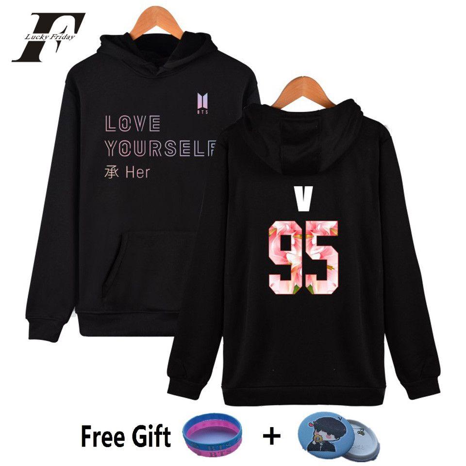 LUCKYFRIDAYF 2017 NEW BTS LOVE YOURSELF Kpop Hooded Harajuku Hoodies Women Bangtan Sweatshirts Women Fashion Kpop Female Clothes