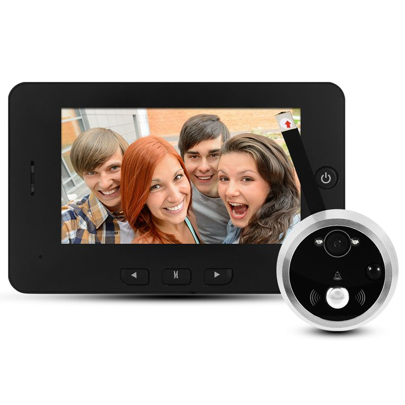 HD Digital Door Peephole Camera 4.3 Smart Door Viewer LED Night Vision Motion Detect Wide Angle Rechargeable Music Doorbell