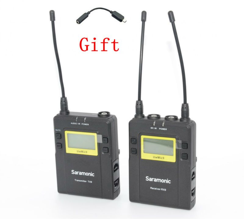 Saramonic UwMic9 (RX9+TX9) Broadcast UHF Wireless Lavalier Microphone System for dslr Camera Camcorders