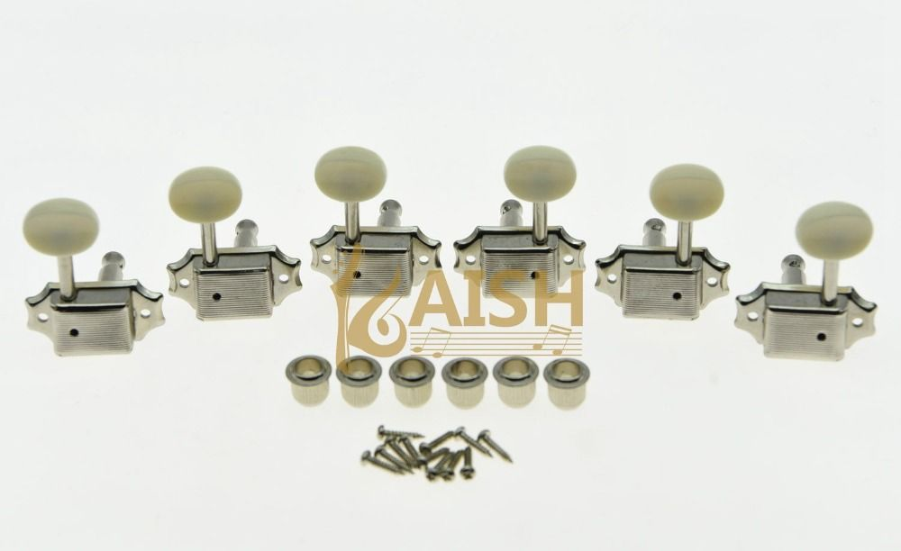KAISH Nickel w/ Ivory Button 3L3R Vintage LP Guitar Tuners Tuning Keys Fits for LP