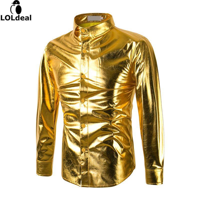 Mens Tendance Nuit Club Enduit Métallique Halloween Or Argent Bouton Vers Le Bas Shirts Parti Brillant Manches Longues Robe Chemises Pour Hommes