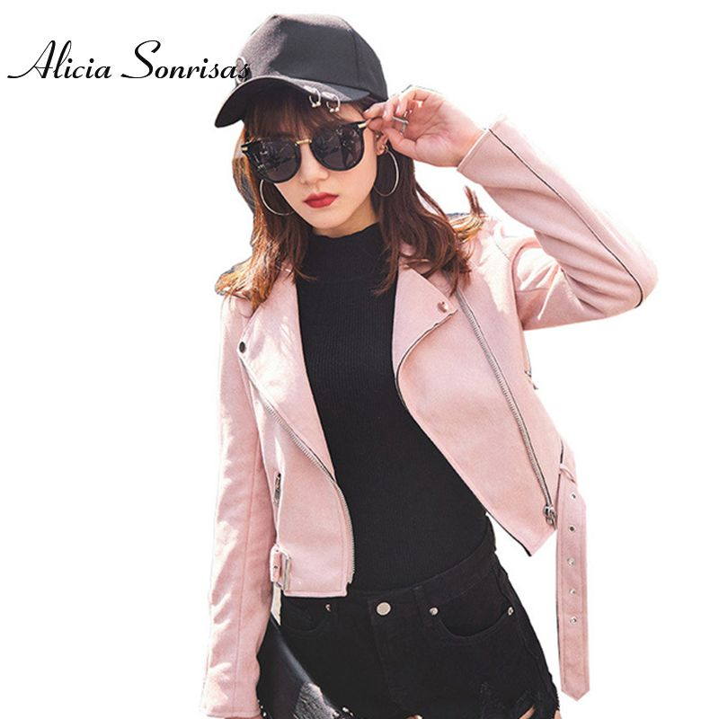 Womens Suede Jacket 2017 Spring Short Brown Faux Leather Jacket Women Badges Motorcycle Bikers Jaqueta De Couro AS804