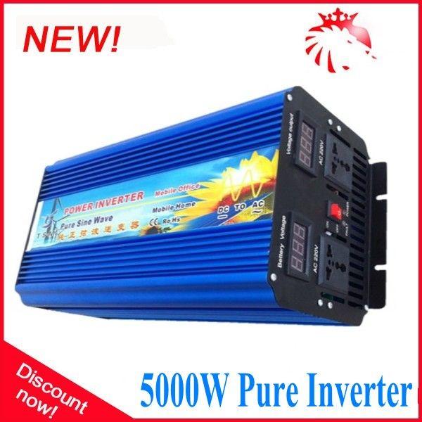 Double Digital display 5000W 12/24/48v to 100/110/220/230/240V Off Grid Pure Sine wave Solar Inverter 10000W Peak power inverter