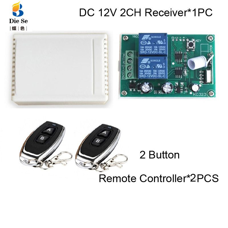 433MHz télécommande commutateur DC 12V 2CH relais récepteur Module RF pour moteur électrique contrôle de courant positif et négatif