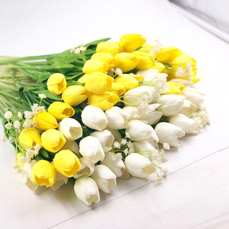 IPOPU 12 pièces Tulipe Fleurs Artificielles Pour La Fête De Mariage PU Vraie Touche Fleurs Mariage Fleurs Décoratives et Couronnes