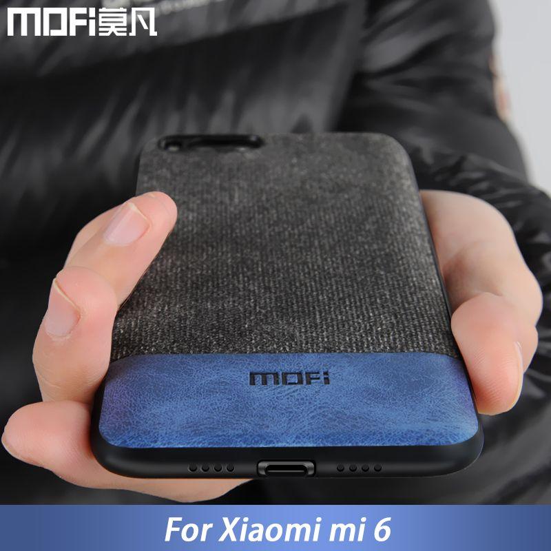 Pour Xiao mi mi 6 cas couverture mi 6 couverture arrière silicone bord hommes d'affaires tissu antichoc cas coque MOFi d'origine mi 6 cas