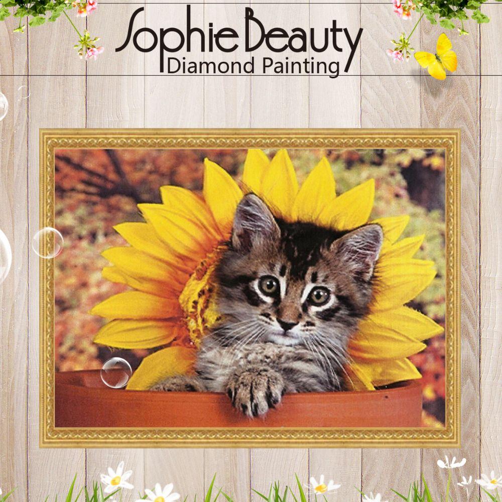 Sophie Beauty New Diy Diamond Pattern Cross Stitch Full Square Embroidery Cat Sunflower Box Needlework Handcraft Mosaic Home Art