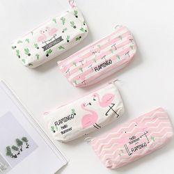Kawaii Mignon Rose Flamingo Toile Crayon Cas De Stockage Organisateur Stylo Sacs Pochette Sac de Crayon Fournitures Scolaires Papeterie
