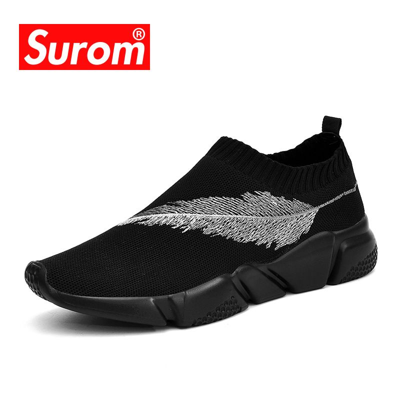 SUROM Breathable Fashion Sneakers Men Soft Mesh Slip on Men's Casual Shoes Elastic fabric Loafers Driving Shoes male shoes adult