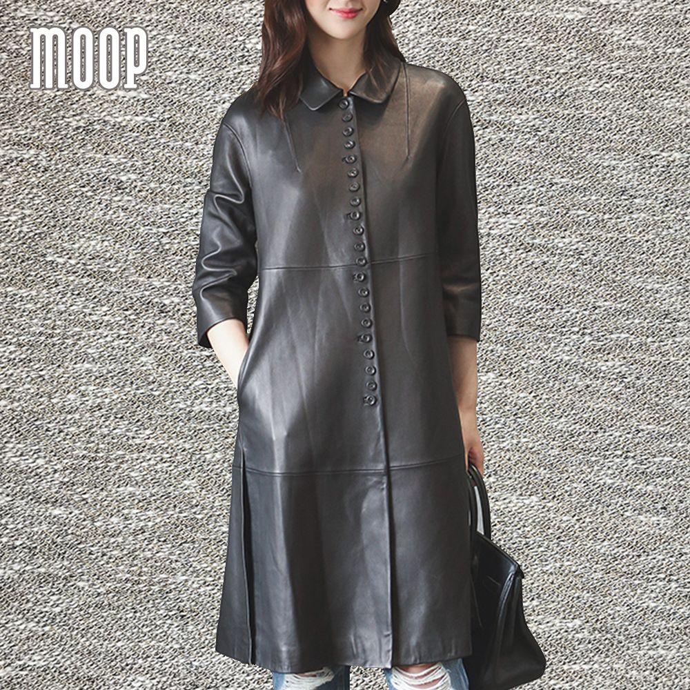 American style black genuine leather coats Lambskin long windbreaker trench coat abrigos mujer casaco feminino LT1149 Free ship