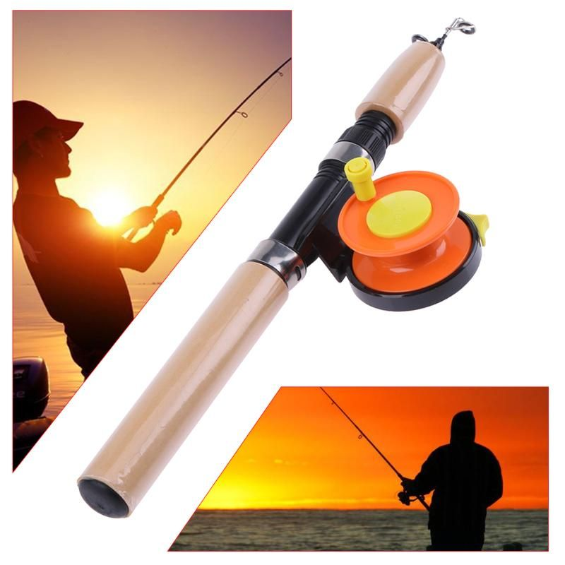 Tragbare Mini Eis Angelrute Mit Holzgriff FRP Fishing stäbe Pole ABS Spinnerei Casting Harten Winter Angelrute Trackle werkzeug