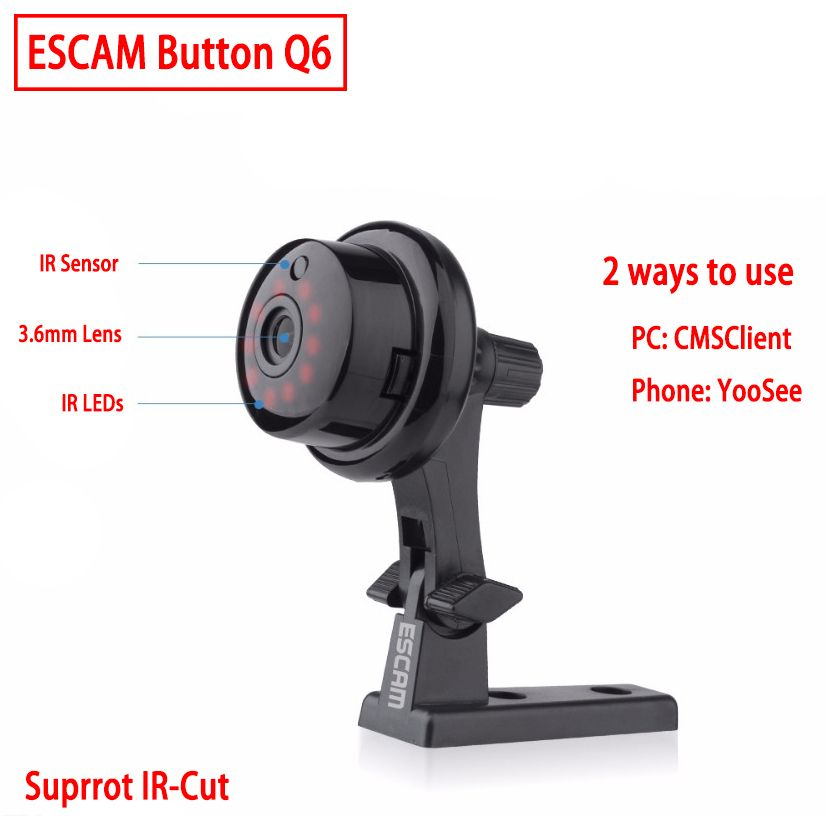 ESCAM Q6 Button Mini Wireless Camera Wifi Two-way voice 720P Indoor IR-CUT Night Vision CCTV Home Security IP Camera Wi-fi