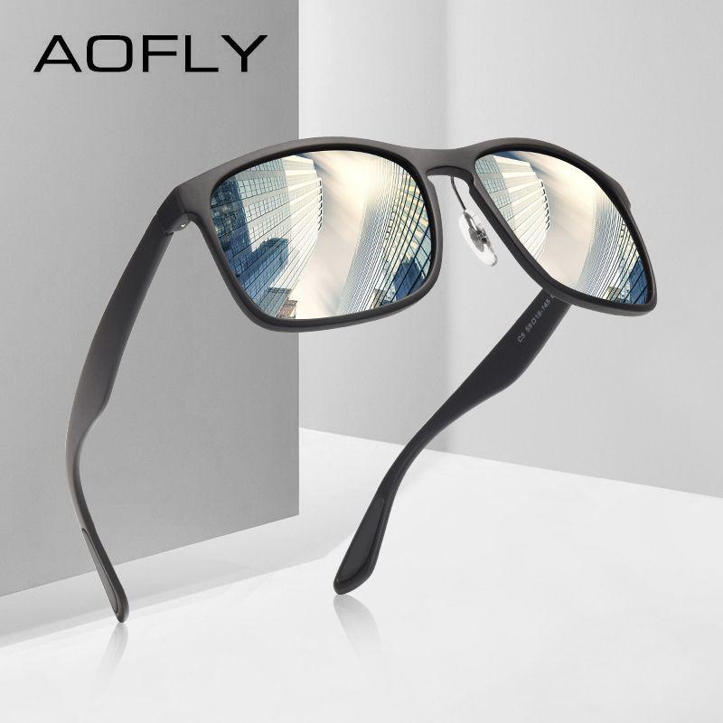 AOFLY MARKE DESIGN Polarisierte Sonnenbrille Männer Fahren Sonnenbrille Beschichtung Angeln Fahren Brillen Männlichen Brille UV400 Oculos AF8121