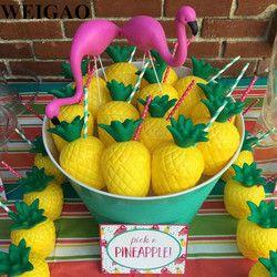 WEIGAO Flamingo Thème de Fête D'anniversaire Décoration Fournitures Ananas Coco Vaisselle Jetable Paille Plaque Porte-Gobelet Vaisselle