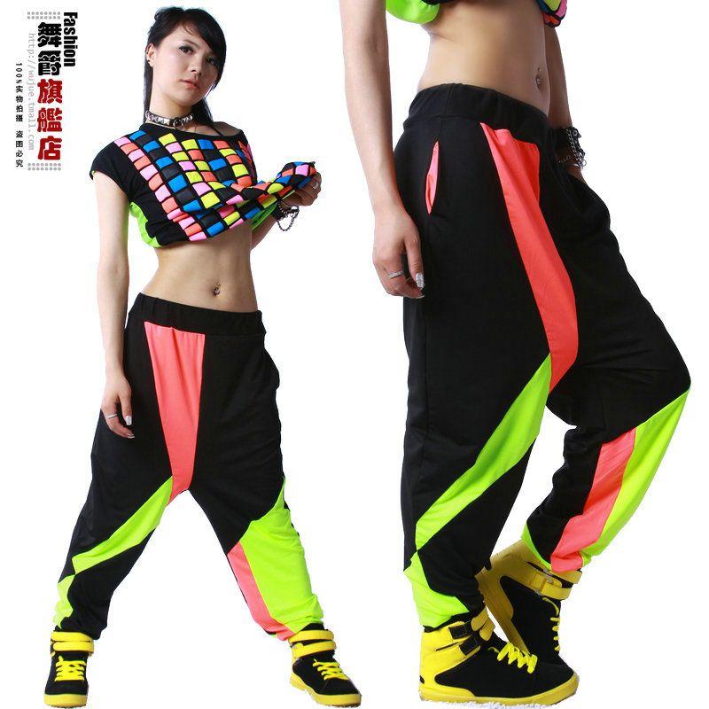 Nouvelle marque de mode Harem Hip Hop danse pantalons pantalons de survêtement Costumes femme scène performance porter harem néon jazz pantalon