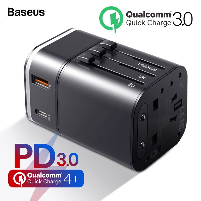 Baseus Quick Charge 4.0 3.0 USB Charger Universal Travel Adapter USB C PD QC QC4.0 QC3.0 Fast Charging International Plug Socket