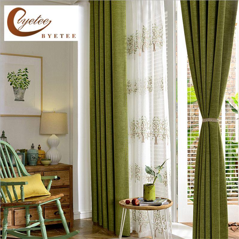 byetee современные хлопок лен зеленый цвет Занавески для гостиной качества Бесплатная доставка спальни занавес двери занавес для кухни