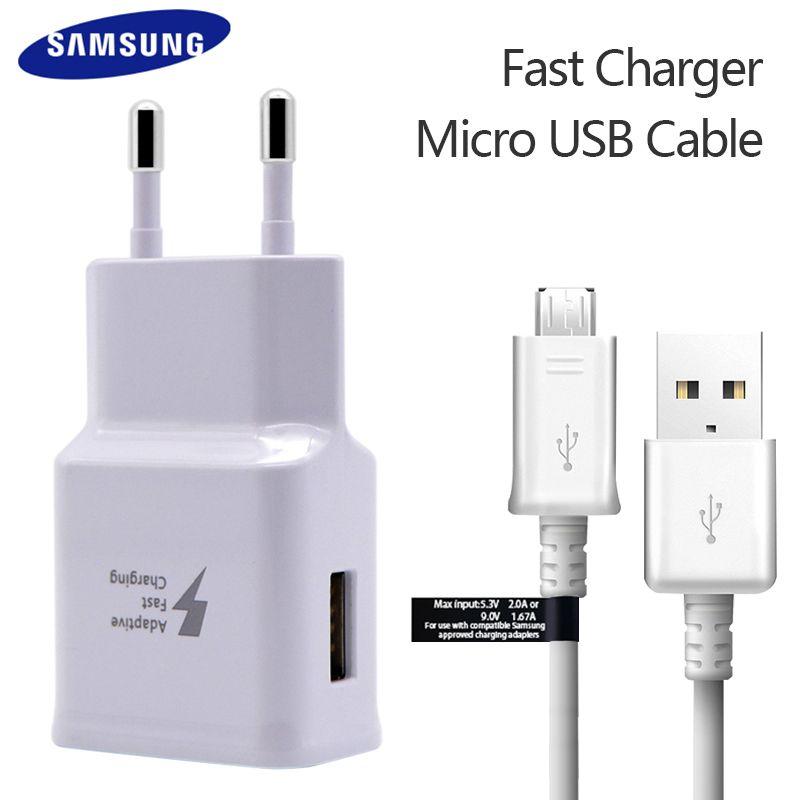 100% Original <font><b>Samsung</b></font> Fast Charger For Galaxy S7 6 Note4 5 Adaptive Quick Charge EU US Plug Travel Charging 9V 1.67A & 5V 2A