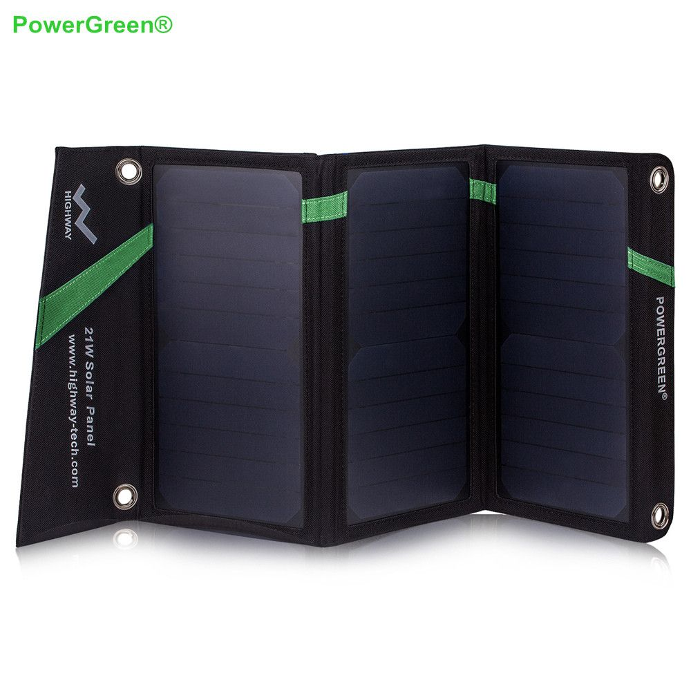 PowerGreen Foldable 5V 2A Solar Charger 21 Watts Solar Power Bank External Battery Backup for iPhone or Samsung for Xiaomi