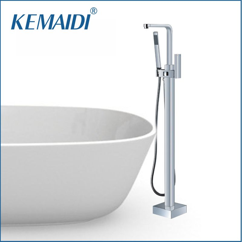 KENAIDI Bathtub Faucet Shower Set WELS and CUPC Chrome Plated Freestanding Tub Filler Floor Standing Bathtub Faucet  Faucets