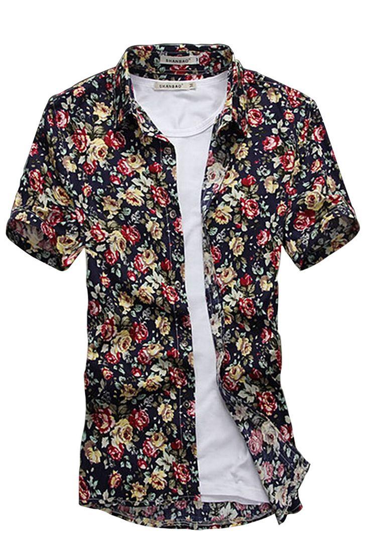 Men <font><b>Point</b></font> Collar Short Sleeve Button Down Flower Pattern Shirt DARK BLUE