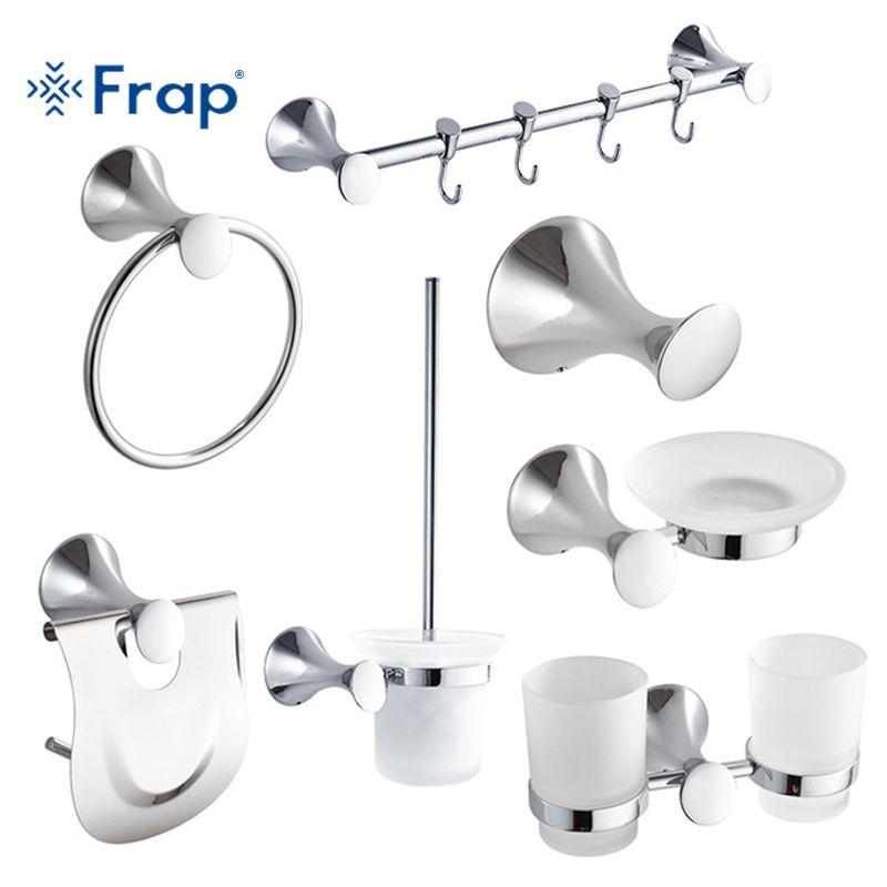Frap die neue 7 Stücke Bad-accessoires Haken Handtuchring Zahnputzbecher Toilettenpapierhalter Wc-bürste top qualität F35T7